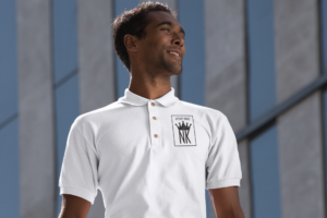 Notary Kings Inc Male with notary kings branded polo